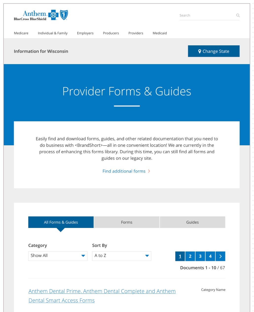 anthem.com forms and guides page