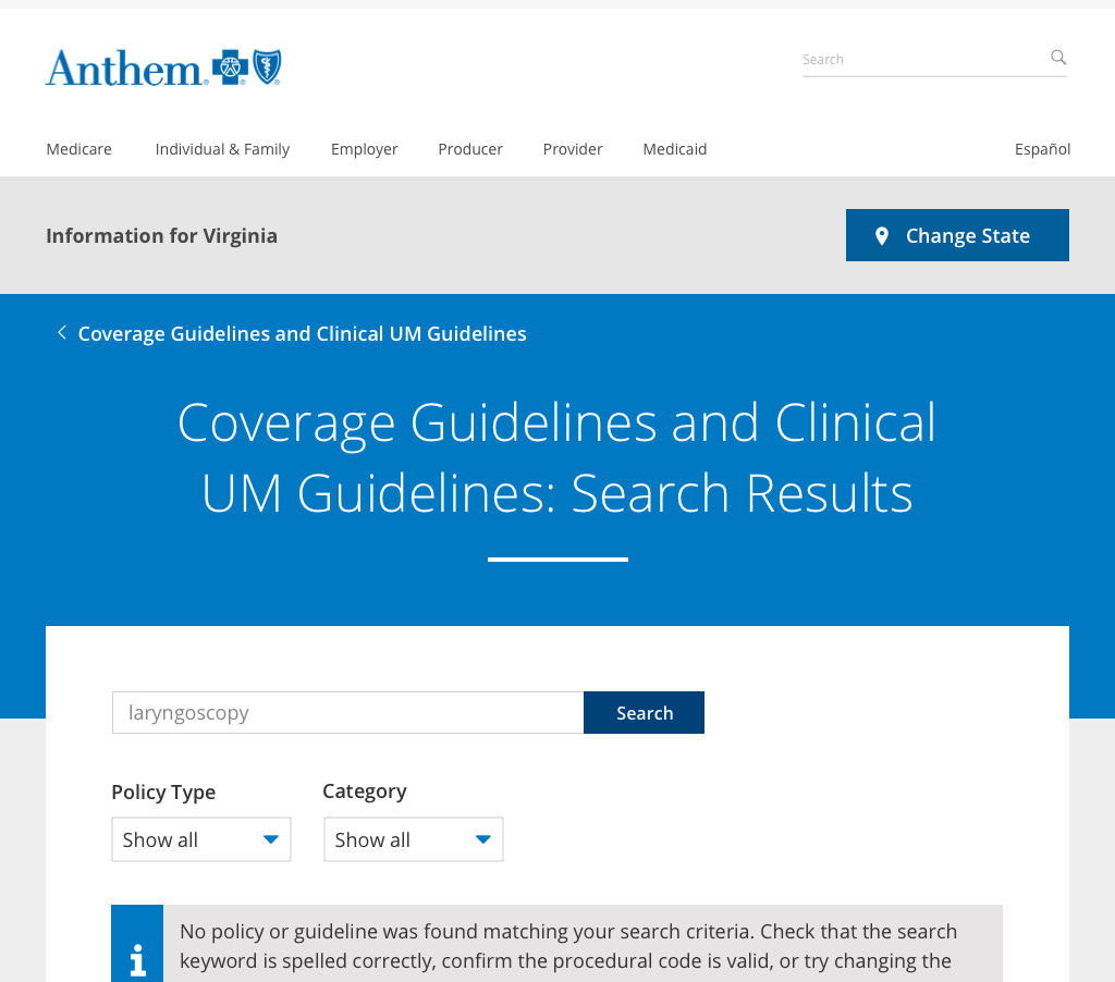Coverage Guidelines Search Results